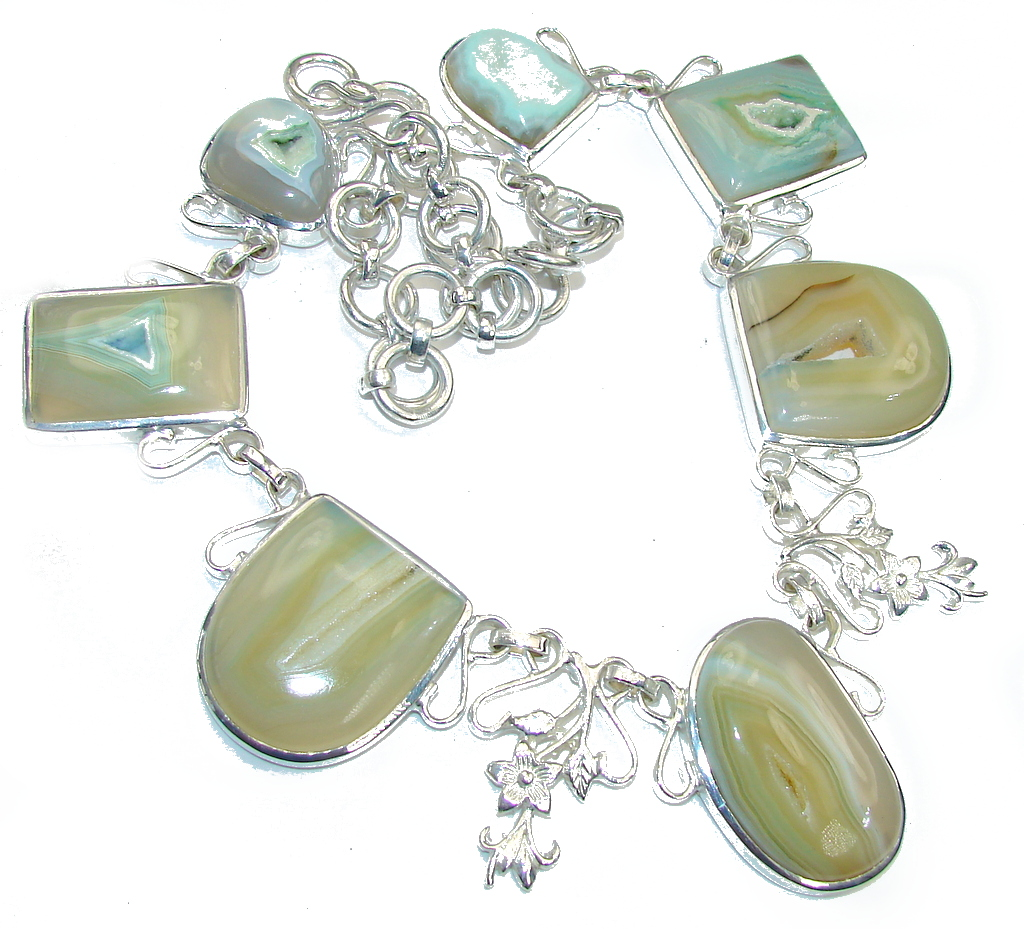Huge! Fashion Yellow Agate Druzy Silver Overlay necklace