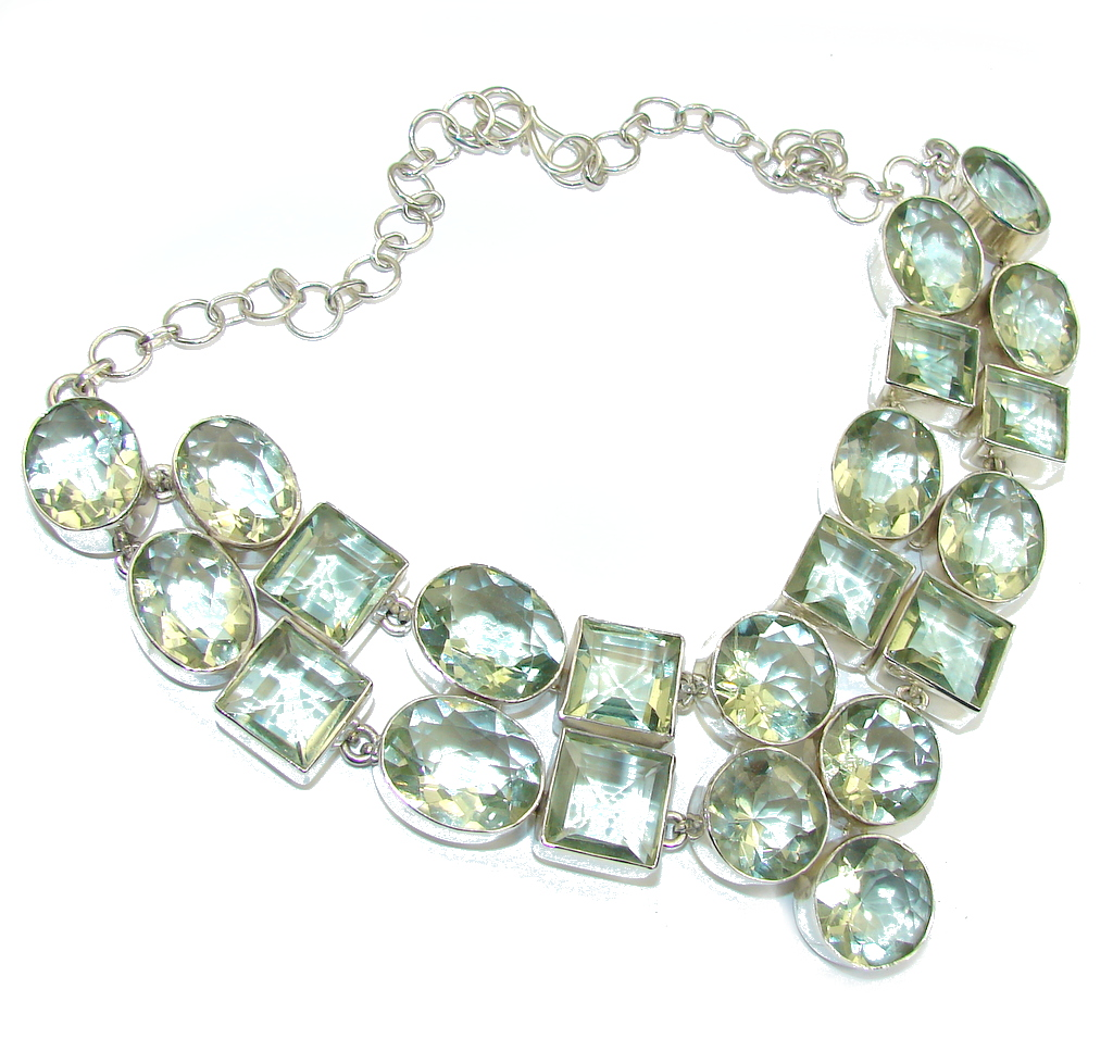 Large! Maya Inspiration!! Created Green Amethyst Sterling Silver necklace