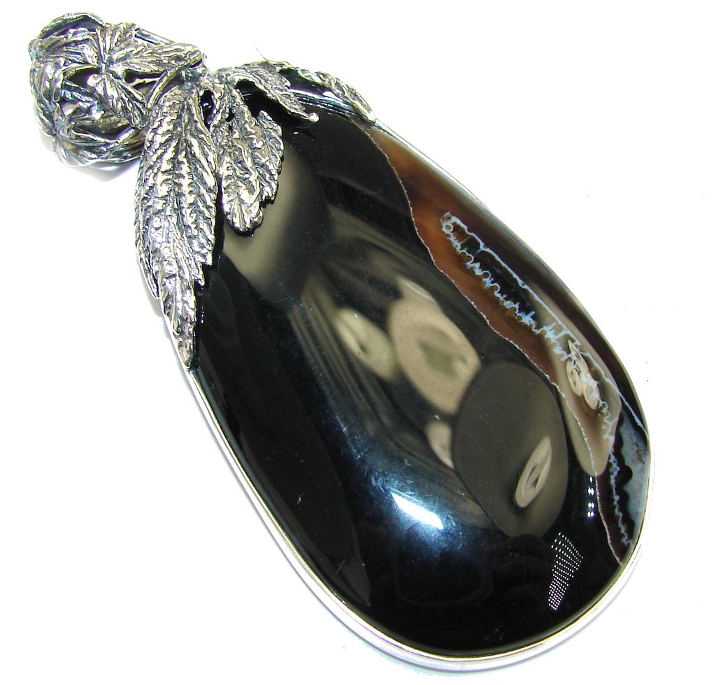 Big! Pale Beauty! Black Botswana Agate Sterling Silver Pendant