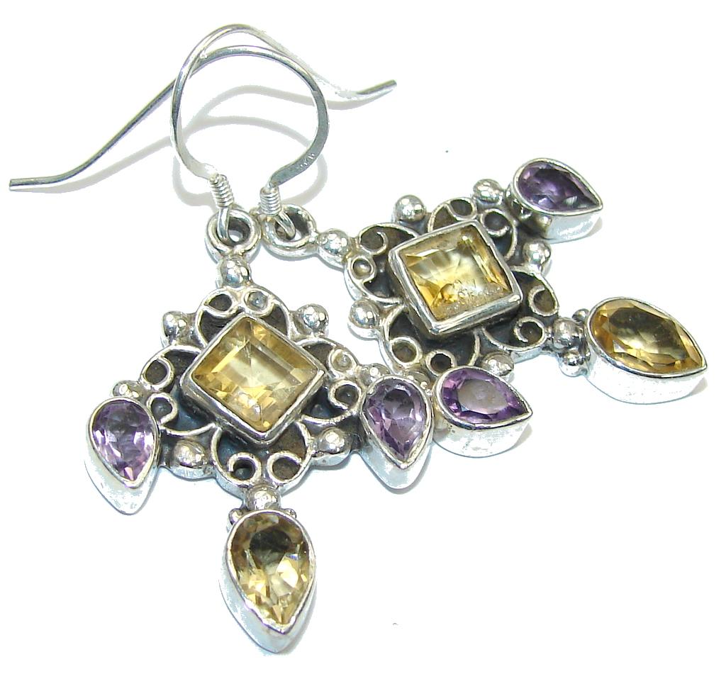 Genuine Yellow Citrine & Amethyst Sterling Silver earrings