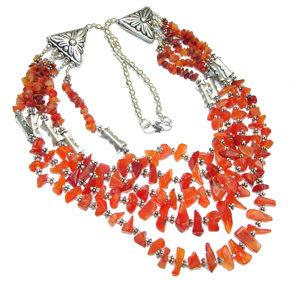 Love And Friendship! Orange Carnelian Sterling Silver Necklace
