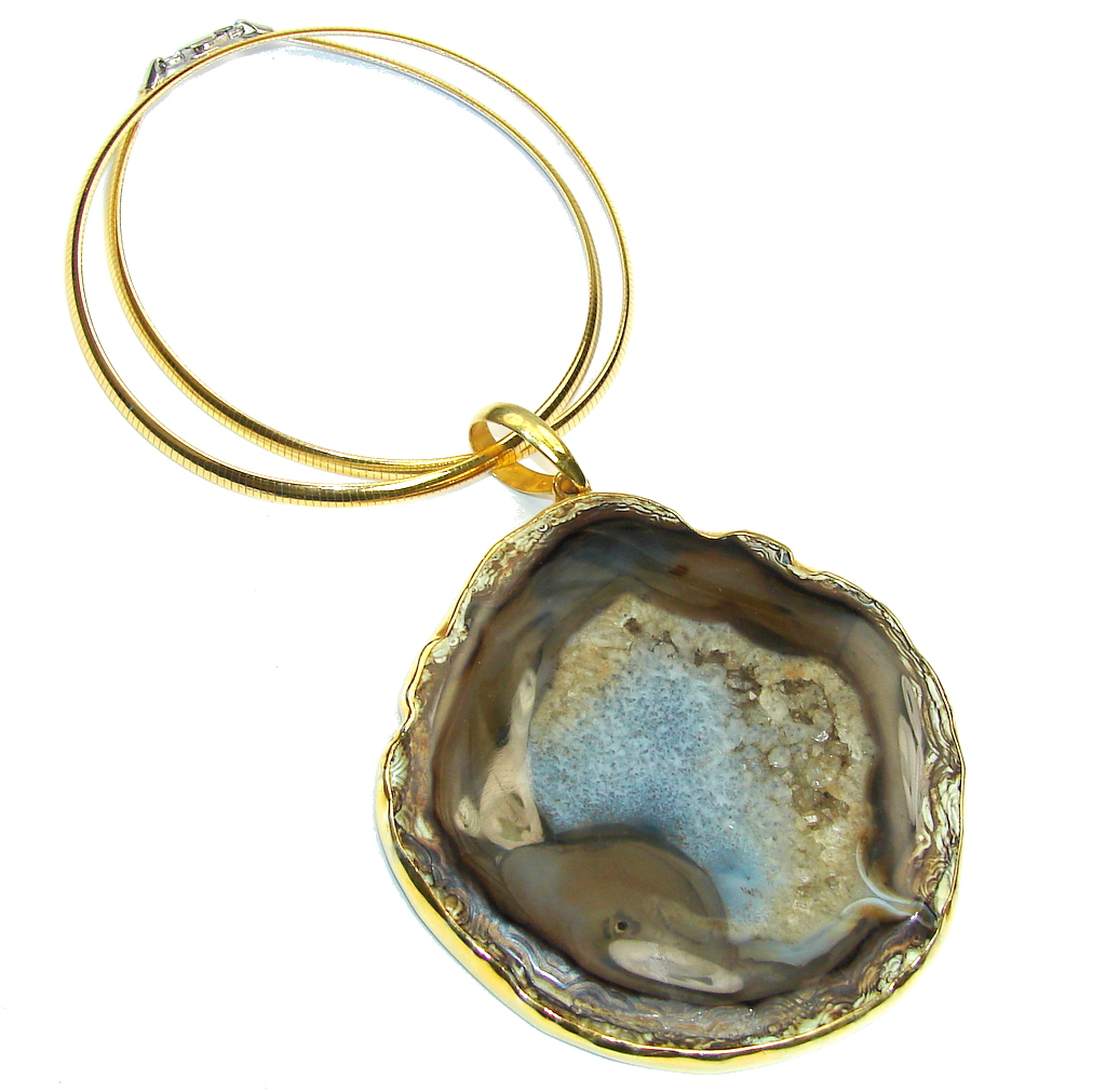 Mega Huge! AAA Fashion Agate Druzy,Two Tones Sterling Silver necklace