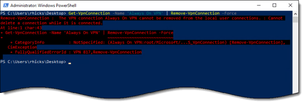 Removing Always On VPN Connections