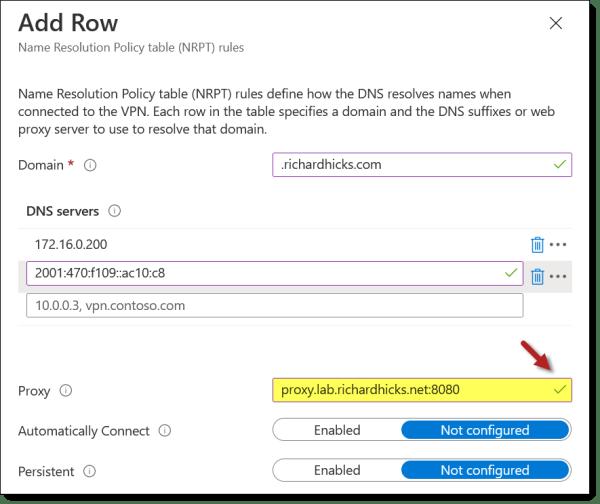 Always On VPN Proxy Server Configuration