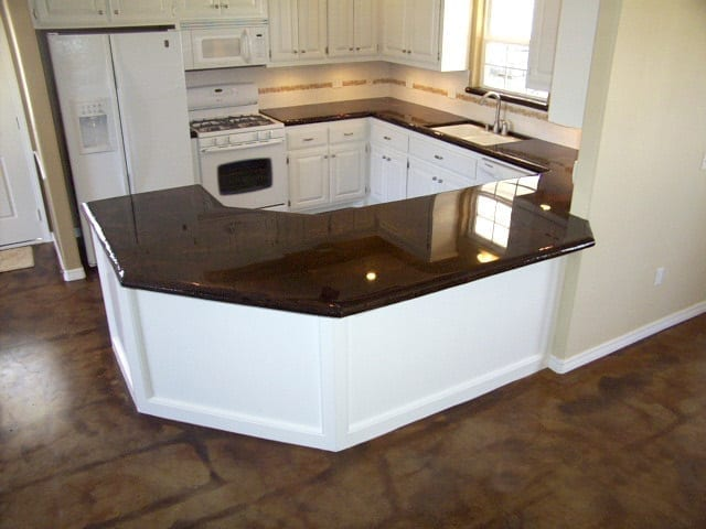Coffee Brown Acid Stained Concrete Countertop