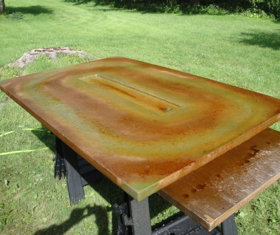 Acid Staining Concrete Fire Table