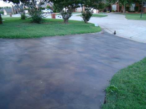 Bad concrete acid stain driveway joby