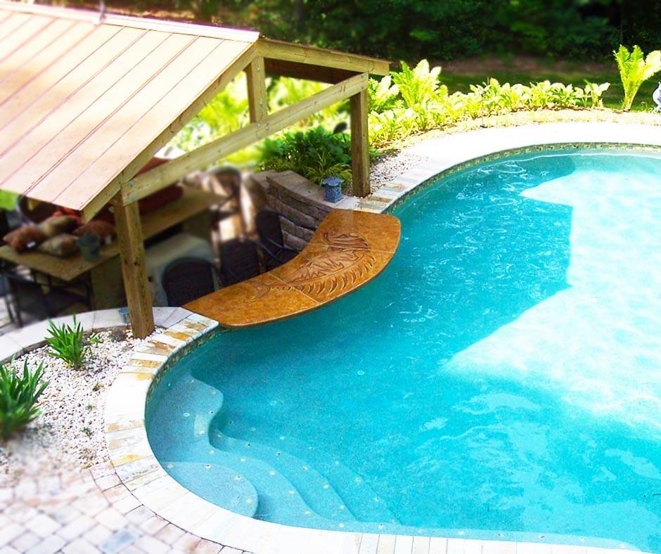 Poolside Bar Countertop and Swim Up Banana Bar Top Colored Concrete Stan Designs