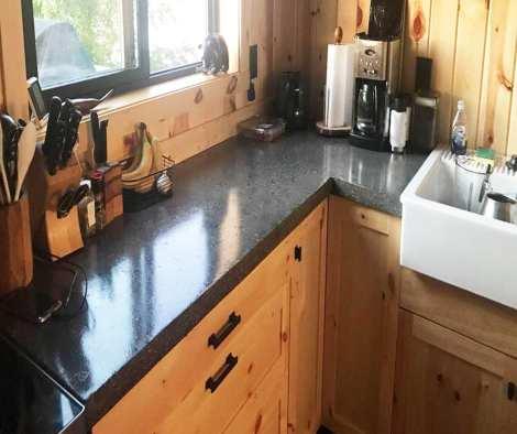 Integrally Colored Poured-in-Place Black Kitchen Concrete Countertop