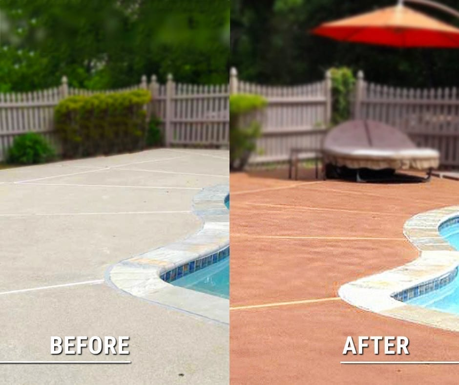 Before and after photos of stained concrete pool deck