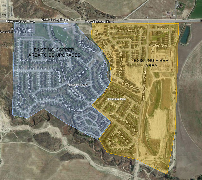 The older western subdivisions of SIlverlake are currently being upgraded to 100% fiber to the home.