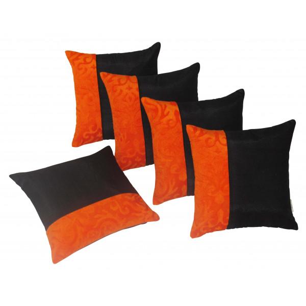 zikrak exim set of 5 black n orange cushion covers directcreate com