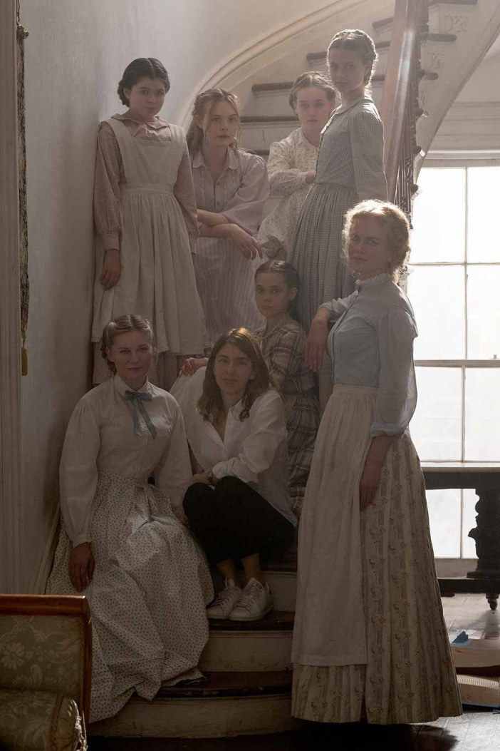 Sofia Coppola on set with the women and girls of The Beguiled cast