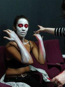 Etta Fusi rehearsing her role as The Magus in Venus in Retrograde [Photo: Tom Majerski]