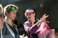 Director Alicia J. Rose discussing a scene with DP Ellie Anne Fenton and AD Aileen Sheedy