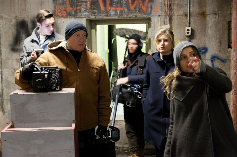 BTS on set of The Rainbow Experiment - Director Christina Kallas preparing a scene with DoP Dave Sharples