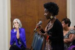 Amanda G asks question [Photo: Bill Sparkes]