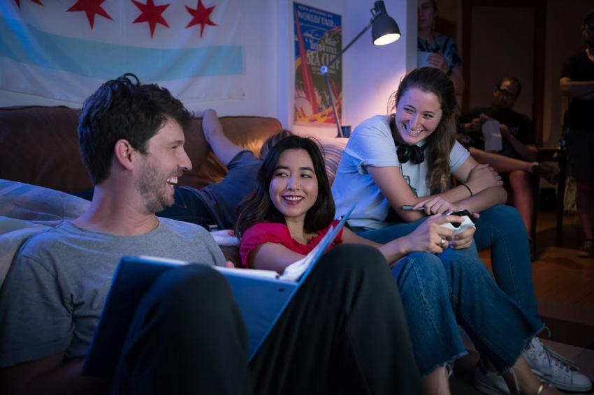 (left to right) Jon Heder (Jeff), Maya Erskine (Samantha), Kendall Goldberg