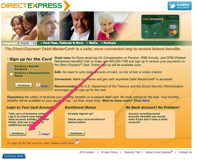 """Direct Express Login Page"""