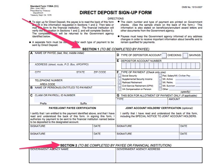 """Social Security Direct Deposit Form"""