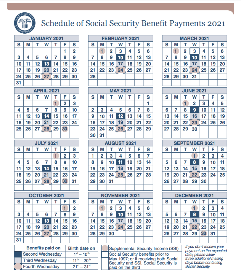 """The 2021 Social Security Payment Schedule"""