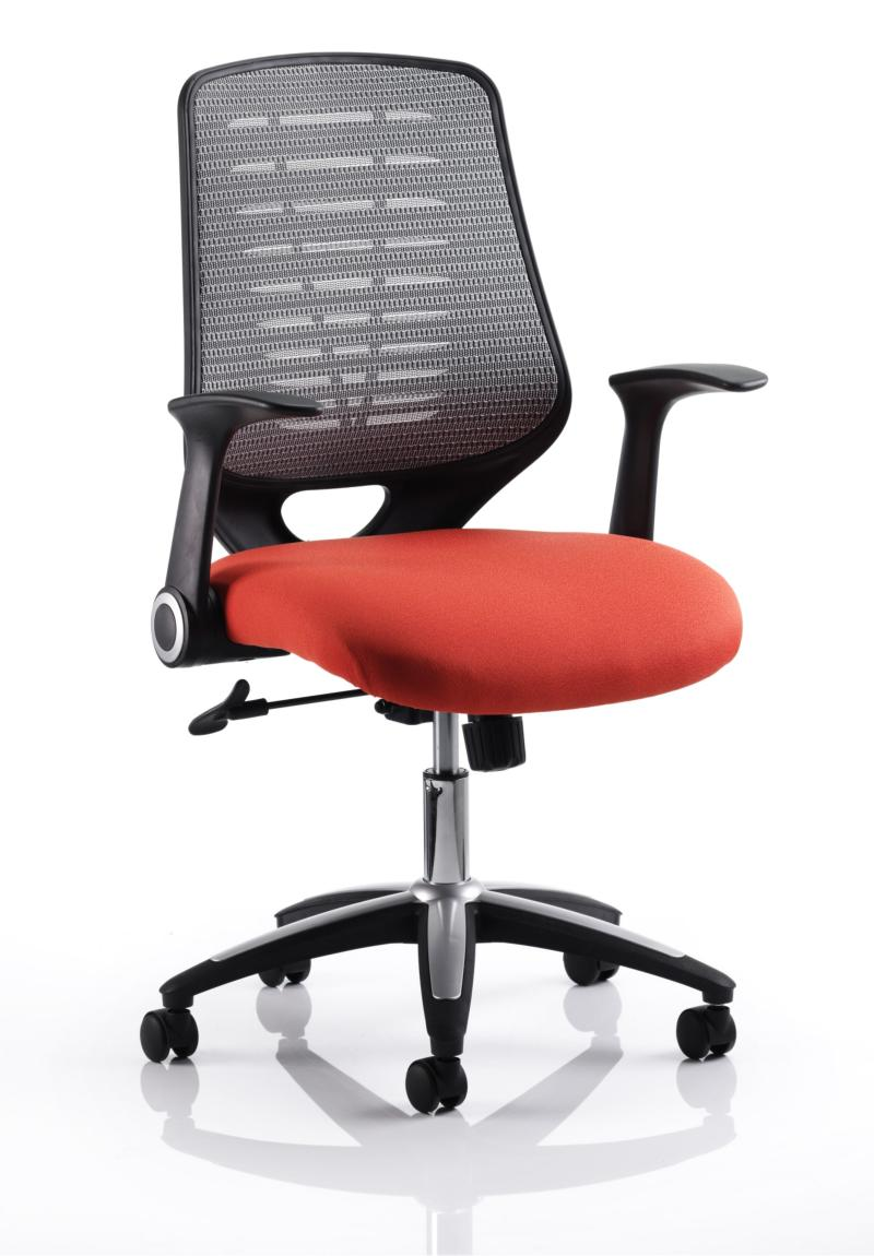 Orange Office Chairs Relay Mesh Office Chair With Orange Seat