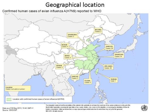 Map of China indicating reported cases of H7N9