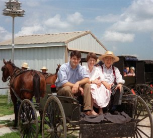 Charlote Phillips and members of a Mennonite community