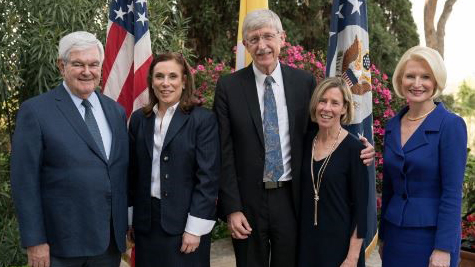 Francis Collins and Diane Baker posing with Speaker Newt Gingrich, Dr. Robin Smith, and Ambassador Callista Gingrich