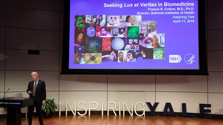 Francis Collins speaking at Inspiring Yale