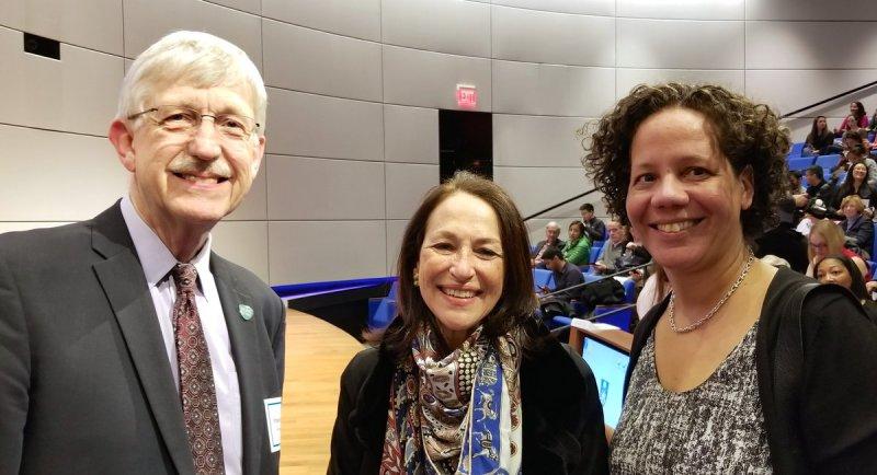 Dr. Collins posing with Margaret Hamburg and Melinda Pettigrew