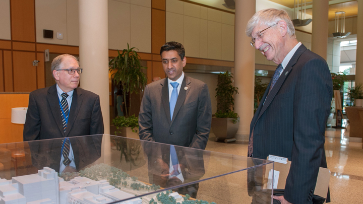 Larry Tabak, Congressman Ro Khanna and Francis Collins at the NIH Clinical Center