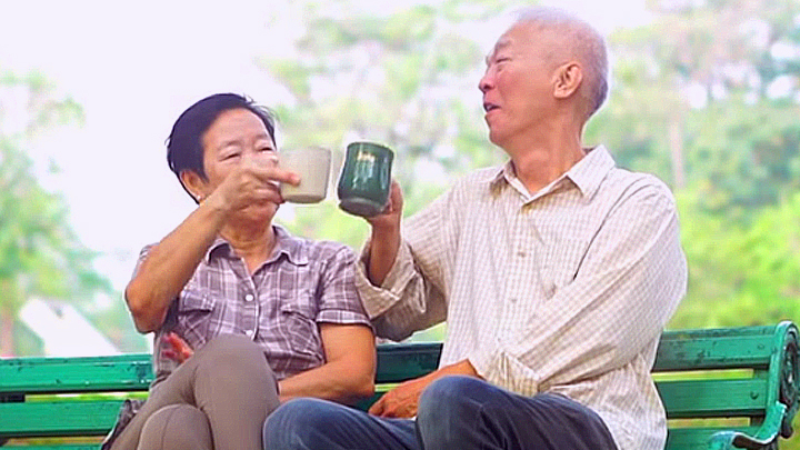 A couple enjoying a hot drink