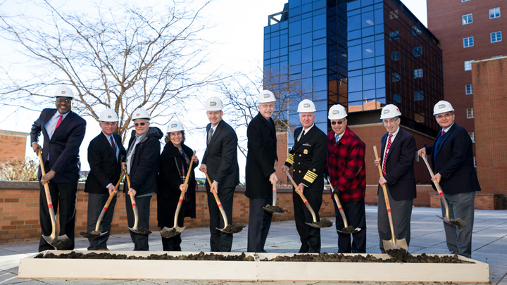 Francis Collins and NIH leadership participate in a groundbreaking ceremony for the Center for Cellular Engineering on the NIH campus