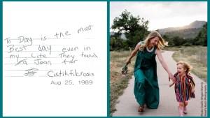 Jenny's 1989 diary entry next to a recent photo