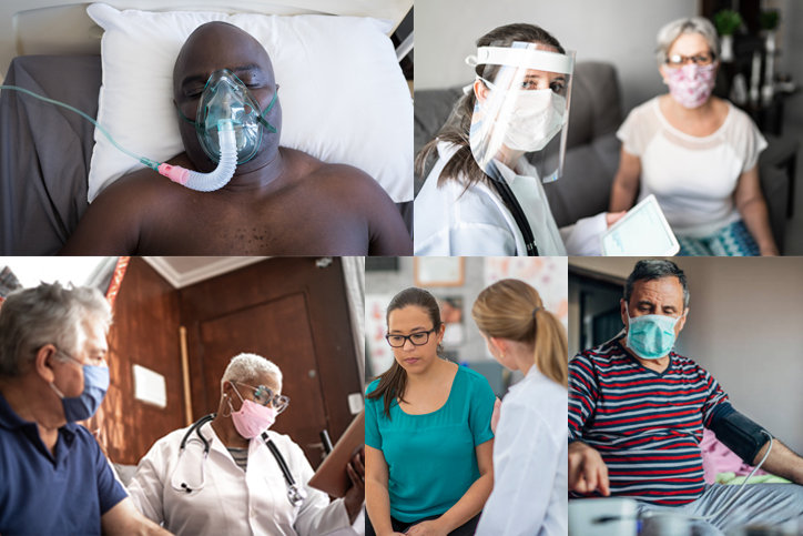 Collage of people being cared for after contracting COVID-19