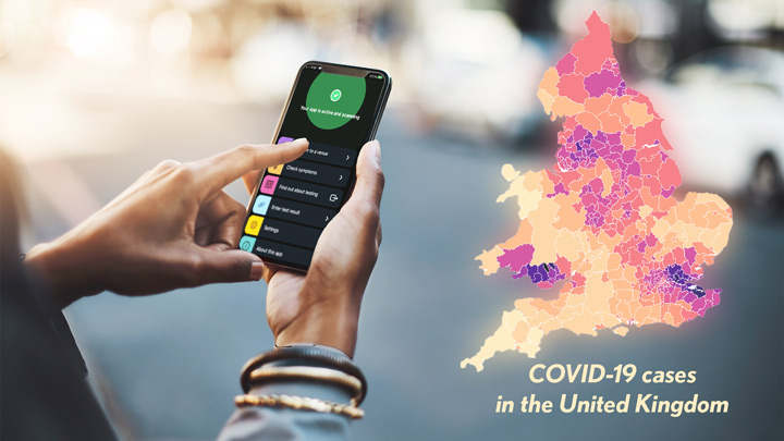 COVID-19 cases in the United Kindom. Hands hold a smart phone with the NHS COVID-19 app