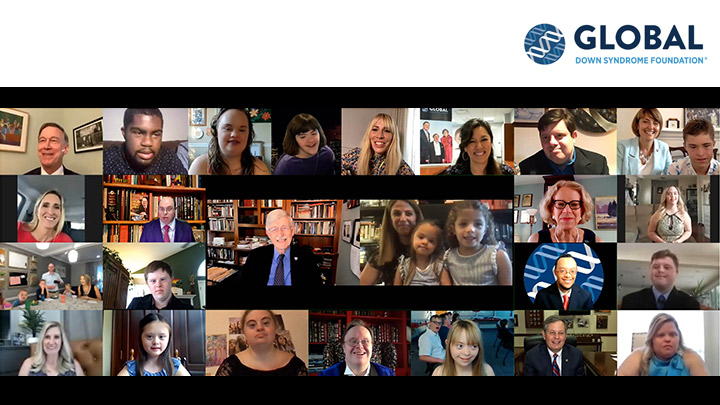 Global Down Syndrome Foundation teleconference with faces of participants