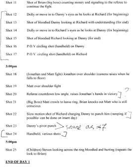 Shot List Day 1B