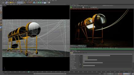 A screen shot from Cinema 4D, with the lung rendering in Octane Render.