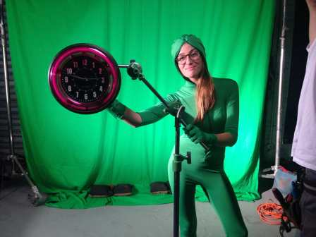 Production Designer Sofia spinning the hands of the clock in style