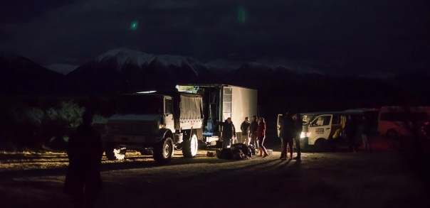 Crew preparing for Rakaia river crossing
