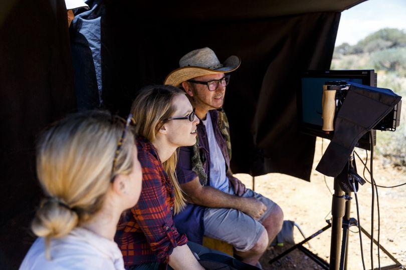 Producer Brooke Silcox, Director Alison James, DOP Michael McDermott reviing shot