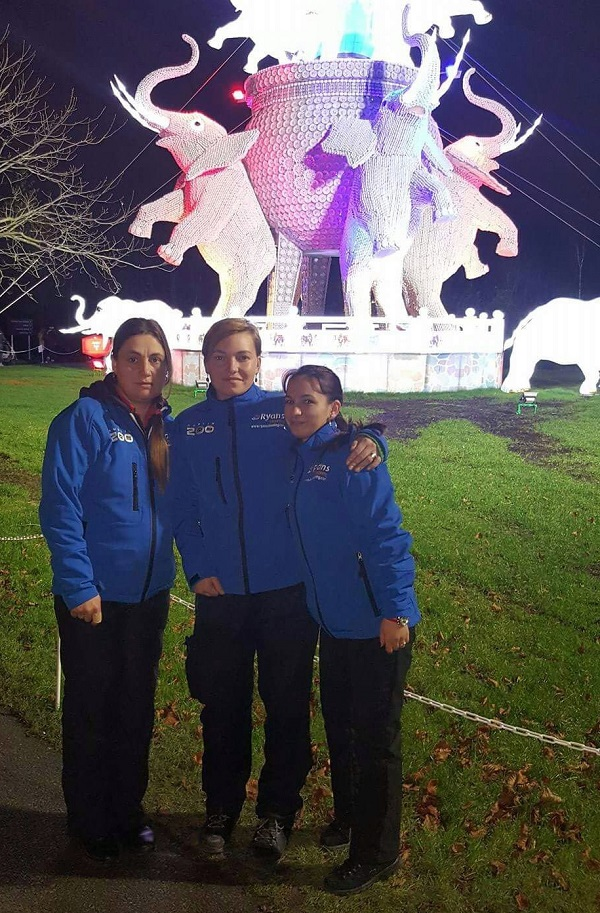 """Ryans Cleaning Fairies keep Wild Lights sparkling at Dublin Zoo. L-R: Daniela Hancu, Reut Alexandrina and Carmen Petrescul."""