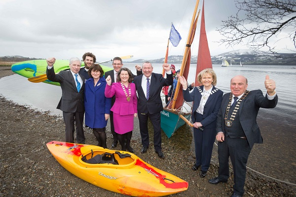 At the Launch were from left Joe McGrath, CE Tipperary County Council, Reuben Noyce, Lough Derg Watersports, Dawn Livingstone, CE Waterways Ireland, Kevin Kelly, CE Galway County Council, Eileen Mannion, Cathaoirleach Galway County Council, Pat Dowling, CE Clare, Dr Phyll Bugler, Cathaoirleach Tipperary councty Council and Tom McNamara, Cathaoirleach Clare county Council. Photograph by Eamon Ward