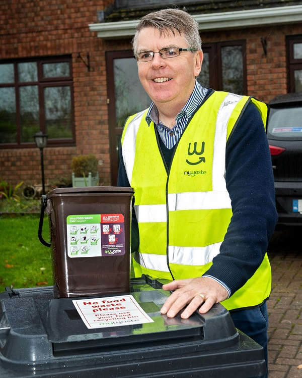 Simon Rooney from the company Waste to Zero will supply the caddies and stickers to Borrisoleigh households taking part in the pilot scheme funded by the Department of Communications, Climate Action and Environment and managed by the Regional Waste Management Offices and Tipperary County Council.