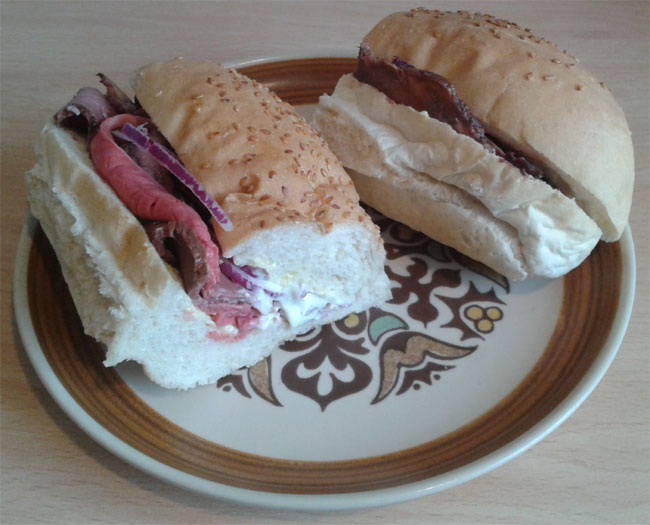 Roast Beef with Wasabi Mayonnaise and Red Onion
