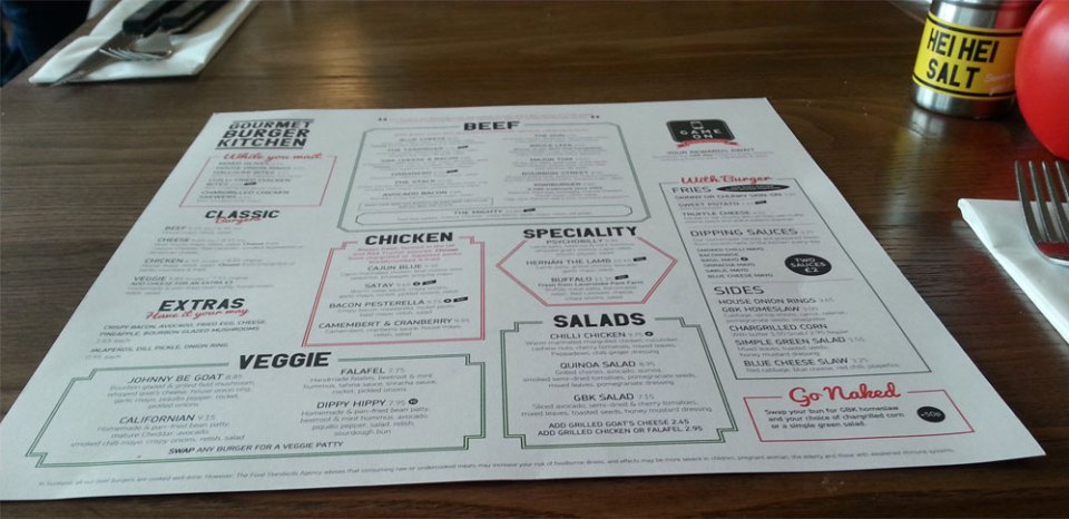 The Gourmet Burger Kitchen Menu