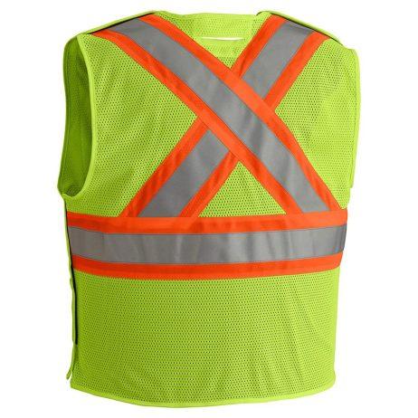 yellow hi vis fr vest back