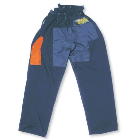 100% polyester chainsaw fallers pants blue back view